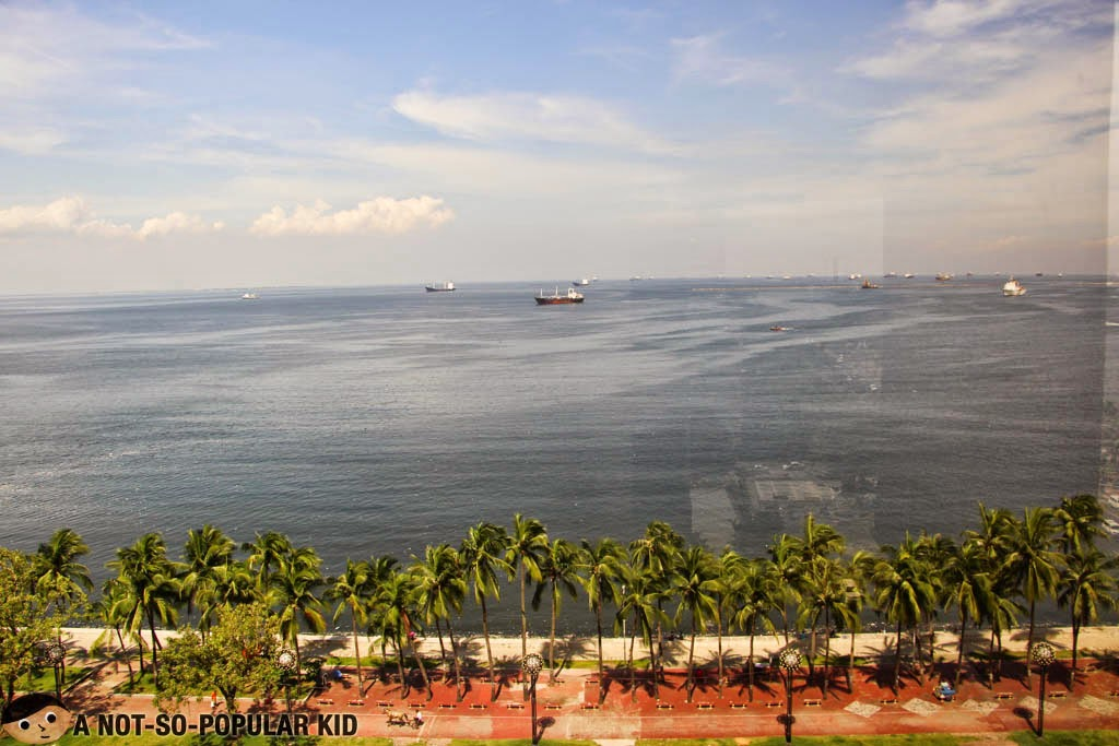 The view of Manila Bay from the executive suite of Diamond Hotel