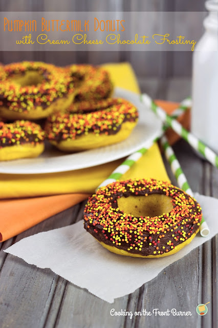Pumpkin Donuts with Chocolate Cream Cheese Frosting | Cooking on the Front Burner