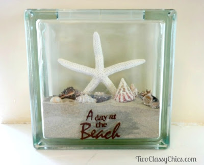 Vacation Beach Memories in a Glass Memory Block