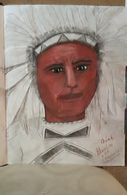 """American Indian Chief"" ethnic series sketch by Gloria Poole-mixed-media"