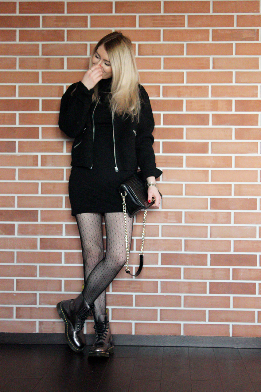 SimplyTheBest Blog written and created by Ewa Sularz LOOK OF THE DAY: New Year's Eve 2016/2017 Zara dress | Acne Studios bomber jacket (YASSS) | Marilyn tights | Dr Martens shoes | Nucelle bag | Mac in Russian Red lipstick fashion, beauty, blog, blogger, simplythebest, ootd, lotd,