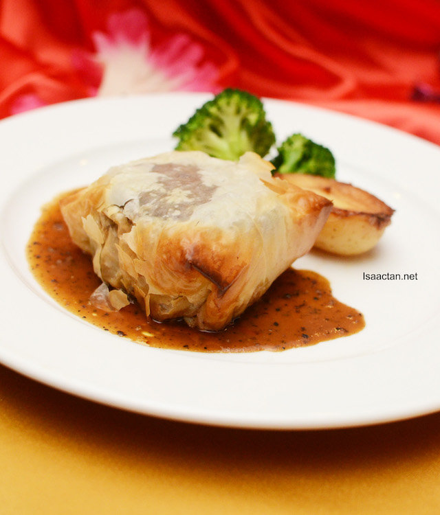 Baked Tenderloin in Fillo Pastry with Mushroom Stuffing