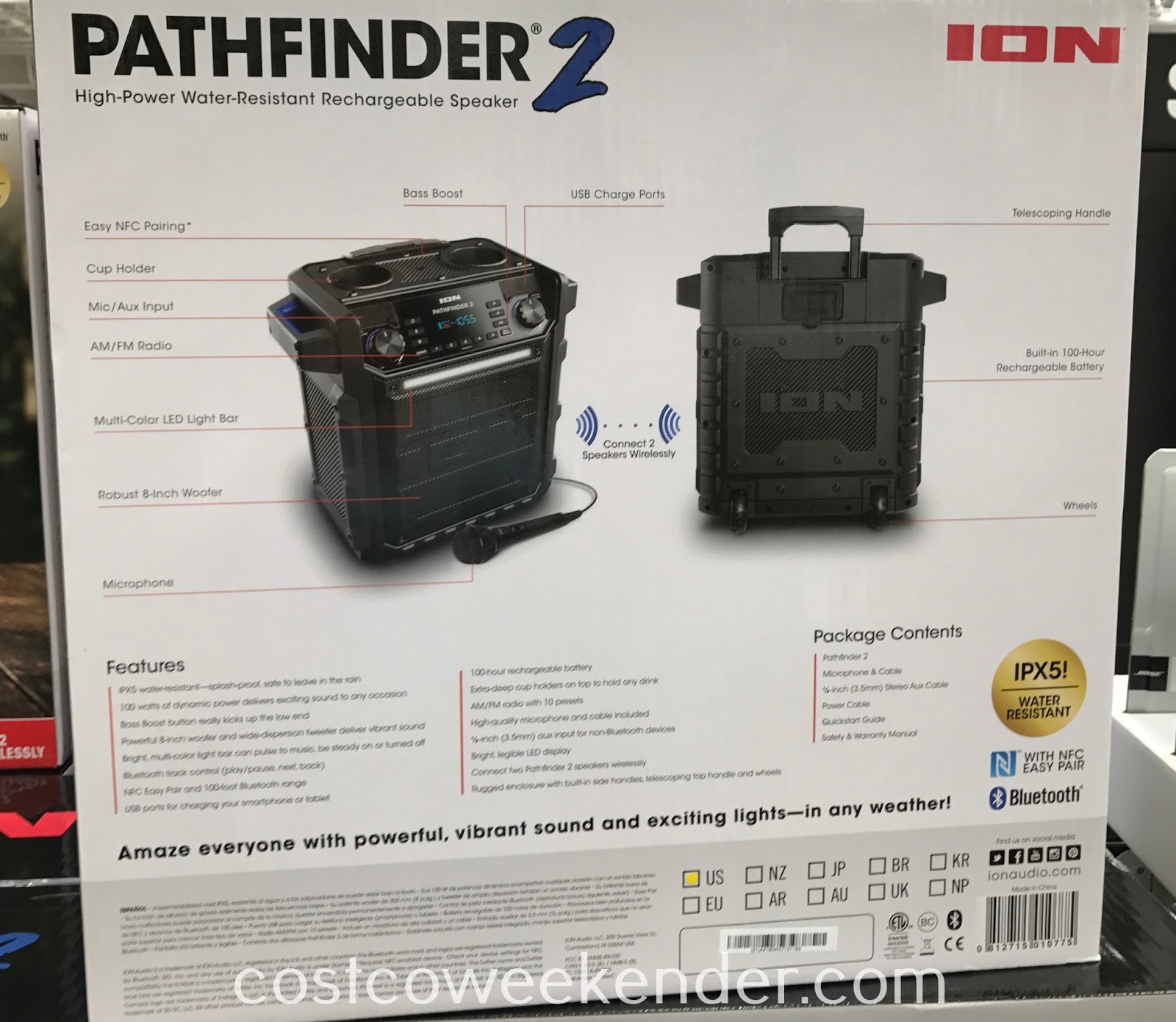 Costco 1110506 - Ion Pathfinder 2 Bluetooth Speaker: rugged enough for taking it on the go to the beach, camping, tailgating or poolside