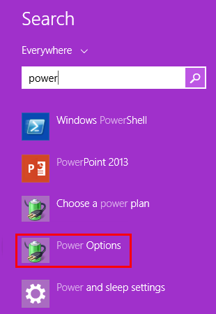 Power Options Windows 8.1