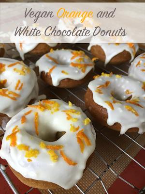 Vegan Orange and White Chocolate Donuts