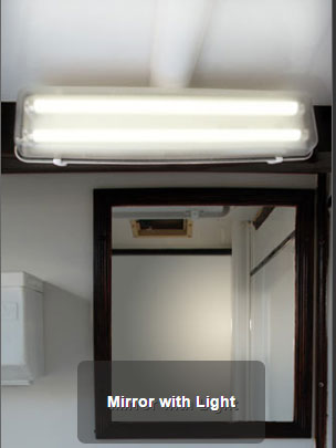 The Mobilet Bathroom Mirror and Lights