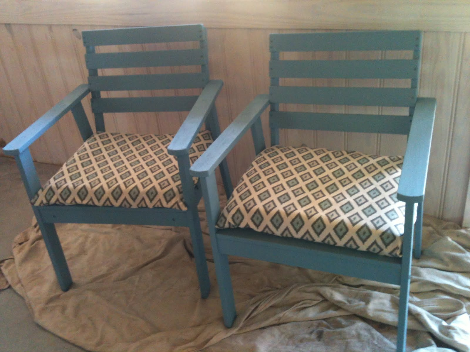 made down south weathered deck chairs transformed with. Black Bedroom Furniture Sets. Home Design Ideas