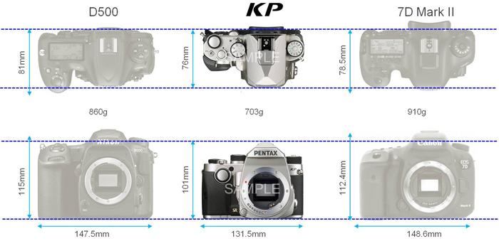 Сравнение габаритов Pentax KP, Nikon D500 и Canon 7D Mark II
