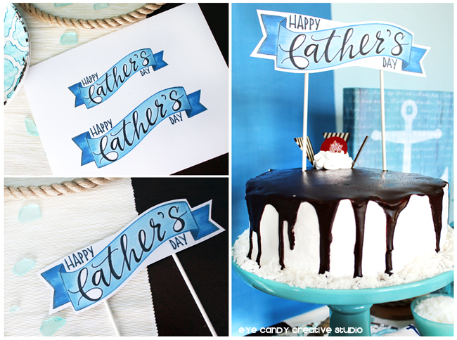 free cake topper for father's day, free father's day art, free cake topper