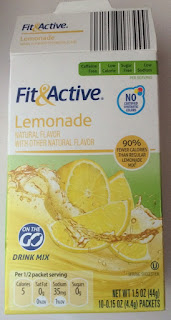 An open box of Fit & Active Lemonade Drink Mix Sticks, from Aldi