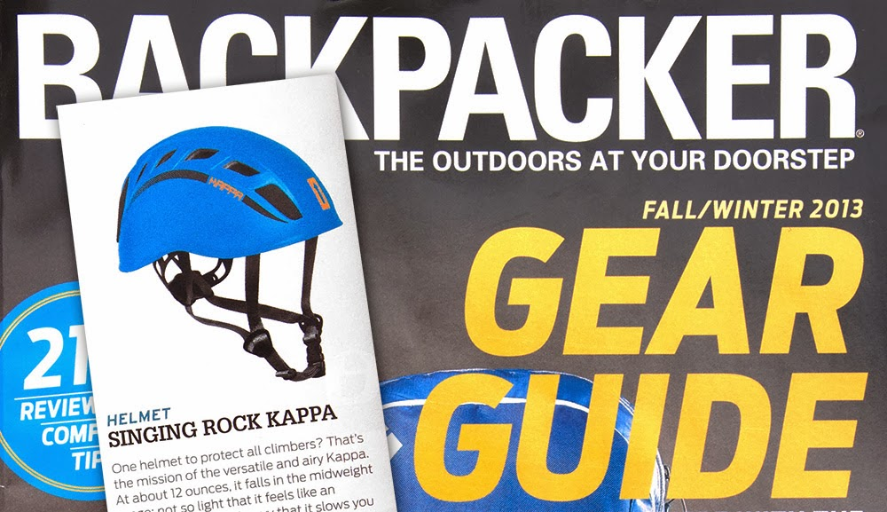 848f057bbaca1 Backpacker Magazine featured the Singing Rock Kappa helmet in their  Fall Winter 2013 Gear Guide.
