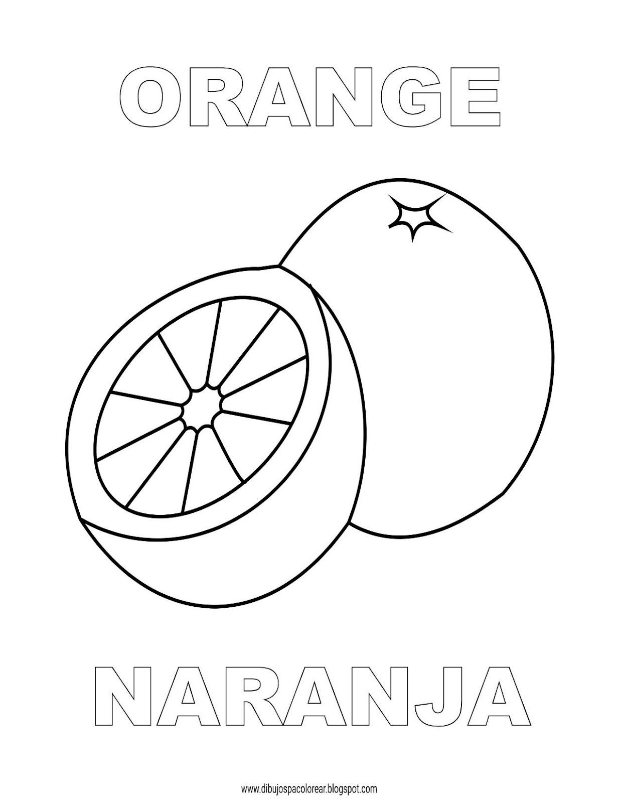 Dibujos Inglés Español Con N Naranja Orange Dibujospacolorear