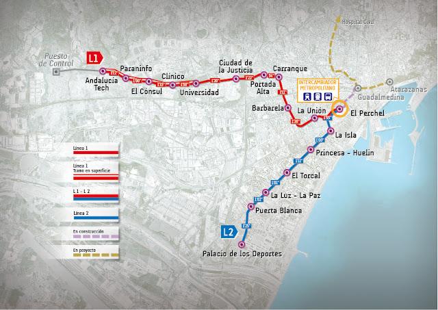 plano mapa del metro de malaga