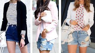 Calções de ganga com: t-shirt riscas e blazer preto; camisa branca e blazer rosa, t-shirt estampada e blazer branco