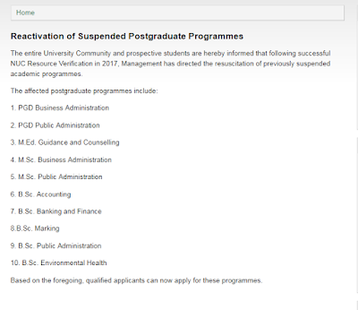 Reactivation of Previously Suspended Academic Programmes in the national open university of Nigeria