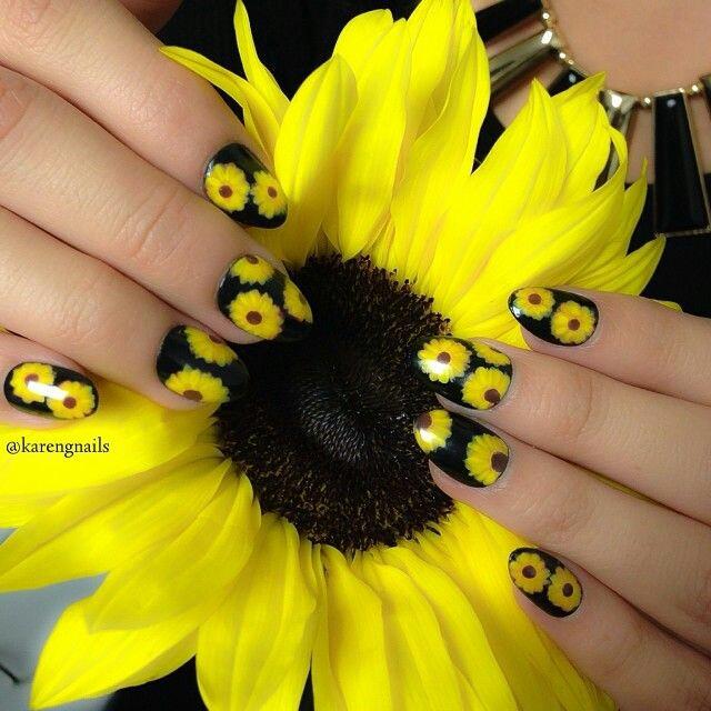 Sun flower nail arts