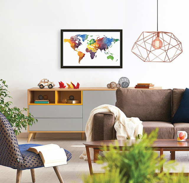 Painting of World Map abstraction in interior decor