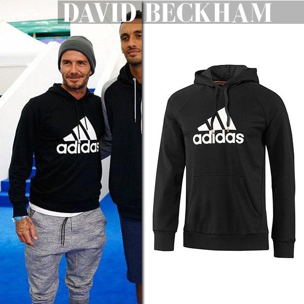 David Beckham in black Adidas hoodie celebrity fashion