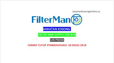 Jawatan Kosong Filter Man Supply Sdn Bhd 2018