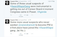 अनुपम खेर के #awardwapsigang ट्वीट1