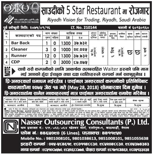 Saudi Arabia Jobs in 5 Start Hotel for Nepali, Salary Rs 87,075