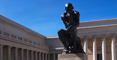 Statue called The Thinker by sculptor Rodin.