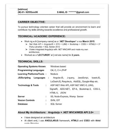 angularjs resume sample 2 - Angular Js Resume