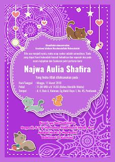Undangan Aqiqah Purple Ornament Corel Draw Belakang