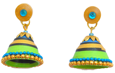 colourfull quilling jhumka earrings for diwali 2015 - quillingpaperdesigns