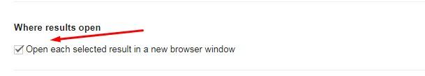 Buka setiap hasil yang dipilih dalam jendela browser baru