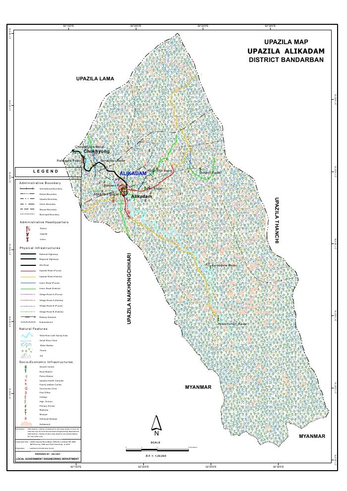 Alikadam Upazila Map Bandarban District Bangladesh
