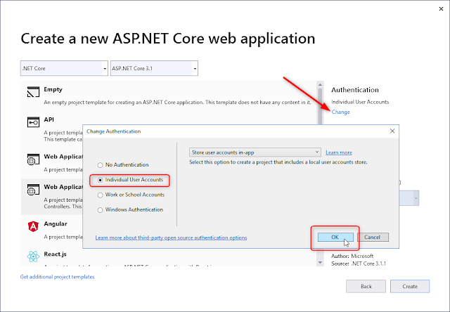 ASP.NET Core MVC Authentification by Individual User Accounts