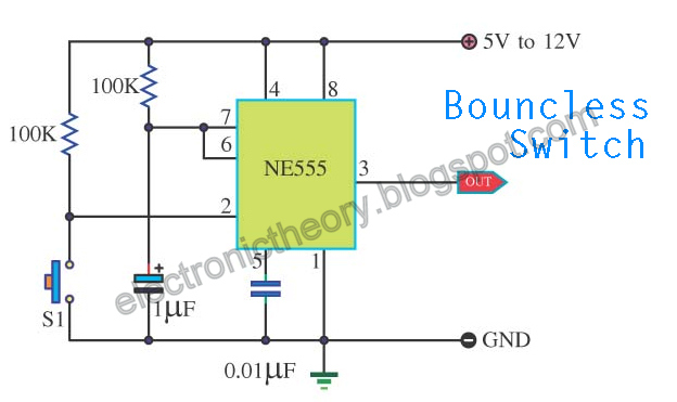 bouncless switch with ne555 circuit diagram today wiring diagram cd4013 schematic bouncless switch with ne555 circuit schematic ne555 frequency bouncless switch with ne555 circuit diagram