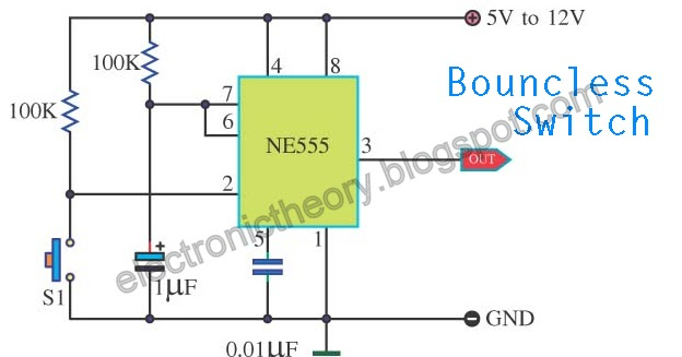 555 Timer Wiring Diagram Led Dimmer Circuit Bouncless Switch With Ne555 Diagrams Today Schematic