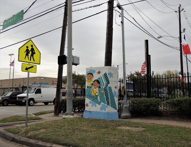 Street-corner art near Benavidez Elementary School in SW Houston