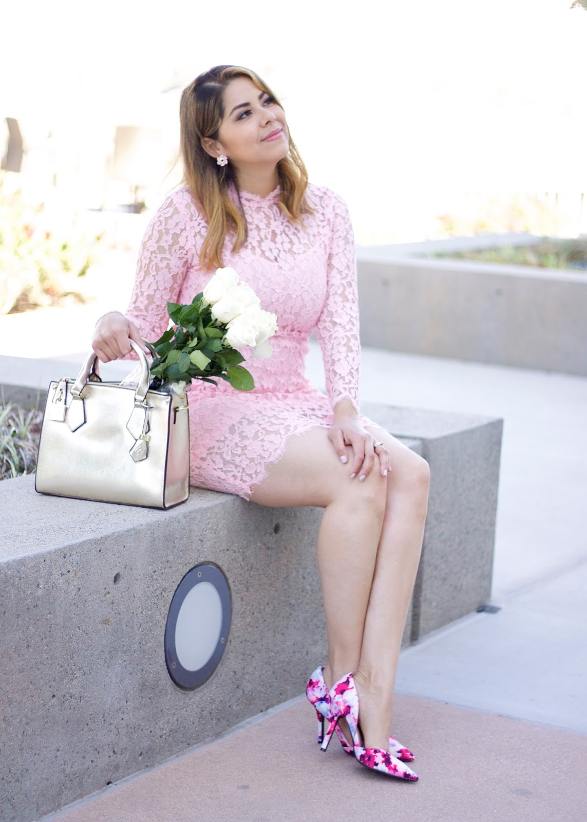 Pink Lace Dress, blush lace dress, pink floral heels, san diego fashion blogger, Spring 2016 pastel outfit