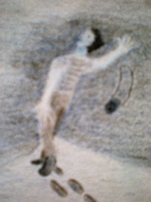 Colored-pencil drawing of a young man dropping a camera in fright.