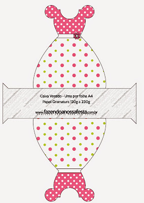 Pink, Green and White Polka Dots Free Printable Dress Box.