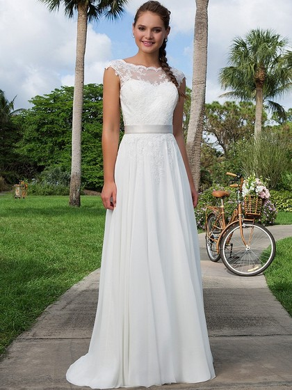 Scoop Neck Appliques Lace Cap Straps Sweep Train White Chiffon Wedding Dress