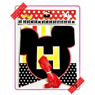 Bunting Flag Segilima HAPPY BIRTHDAY Motif Mickey Mouse