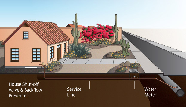 Graphic showing cutaway view of a house, it's yard, and the street, showing how the pipes run. The water pipe runs from the main city pipe under the road to the water meter in the front yard, to the house.