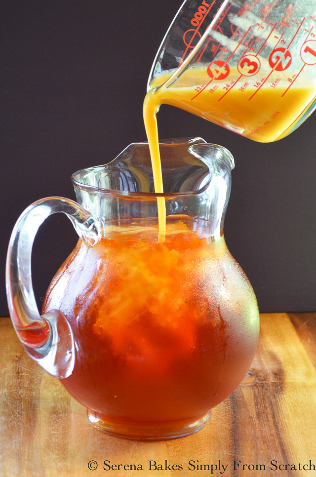 Peach Whiskey Iced Tea add pureed peaches.