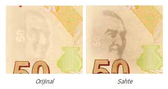 Gerçek ve sahte 50 TL'lik para üzerindeki Atatürk filigranlarının karşılaştırılması