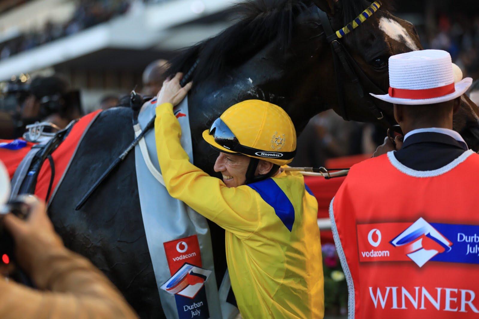 Anton Marcus hugging Do It Again - Vodacom Durban July 2018 - Winner - Horse Racing