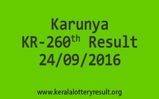 Karunya KR 260 Lottery Result 24-9-2016