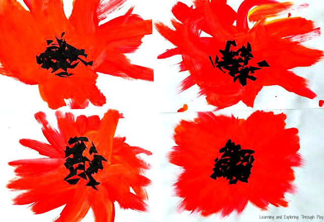 Georgia O'Keeffe Inspired Poppies Remembrance day Activities for Toddlers and Preschoolers