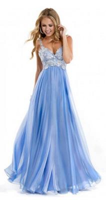 A-line Straps Chiffon Lace Prom Dresses #BK501