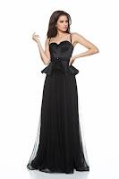 Rochie de seara Ana Radu neagra tip corset cu volanas in talie