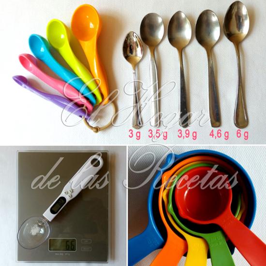 Cucharas y tazas que se usan para medir cuando no tenemos báscula. No todas las cucharas que tenemos en casa tienen la misma capacidad