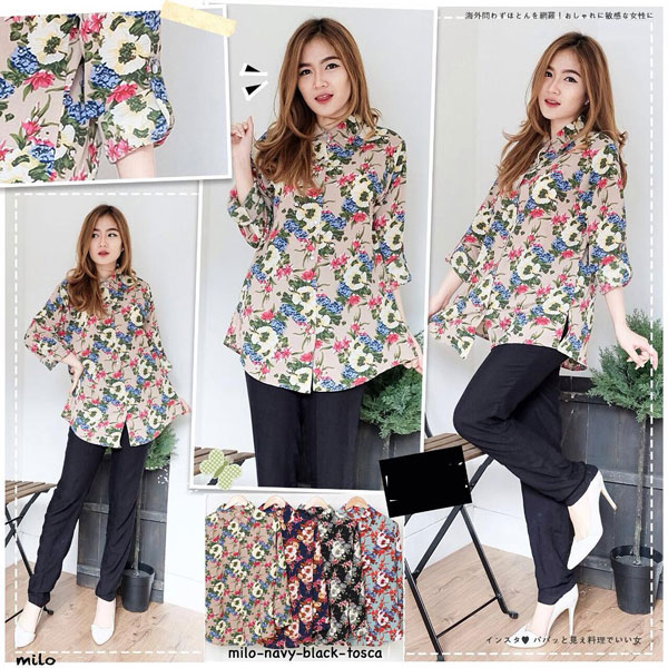 Jual Baju Lengan Panjang Full Flowers Long Sleeves Blouse - 13301